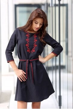 Черна рокля с бродерия RADA BLACK