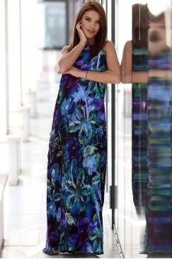 Дълга рокля с дизайнерски принт ANSWER