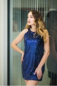 Коктейлна синя рокля PARTY TIME