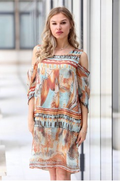 Стилна дамска рокля с принт PRETTY WOMAN