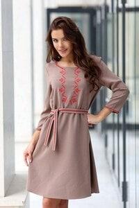 Елегантна рокля с бродерия RADA KHAKI