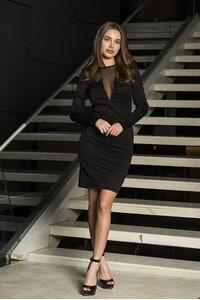 Ефектна черна рокля с тюл Bojura