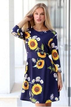 Елегантна дамска рокля с дизайнерски принт FLORAL DREAM