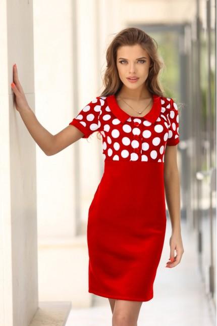 Дамска червена рокля с принт на точки DAYANA RED