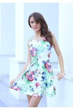 Лятна разкроена елегантна рокля FLOWER WHITE