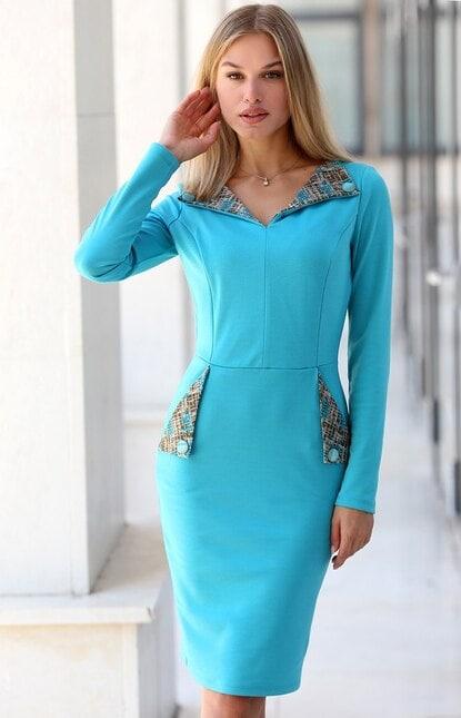 Стилна синя дамска рокля HAPPY DREAM