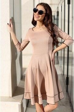 Стилна разкроена дамска рокля KOKETNA BEIGE