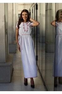 Дълга дамска бяла рокля с шевица RADA PREMIUM