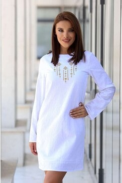 Елегантна дамска памучна бяла рокля KALI