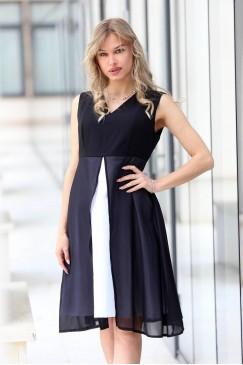 Разкроена лятна черна рокля FEEL HAPPY