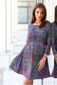 Дамска разкроена рокля с дизайнерски принт ROLEKS