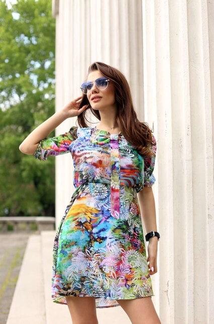 Дамска лятна елегантна рокля EDITA COLOR