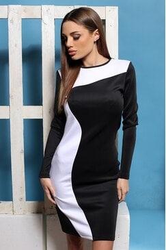 Ежедневна черно бяла рокля KALA