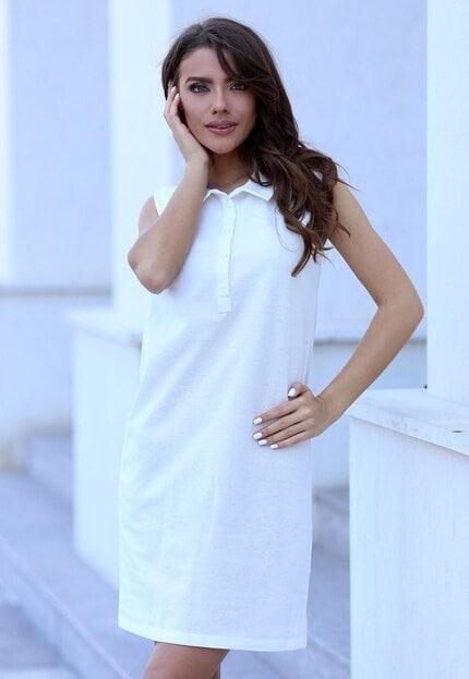 Бяла дамска ежедневна рокля ADALIYA
