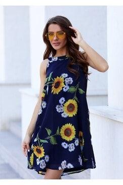 Стилна дамска рокля BLUE FLOWER