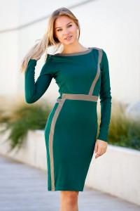 Ежедневна стилна зелена рокля DONNA GREEN