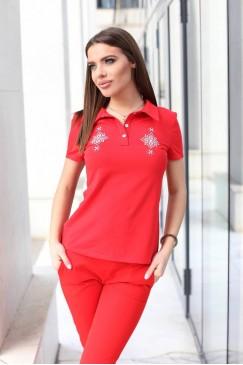 Червена дамска тениска с шевица YANICA
