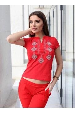 Червена тениска с къс ръкав и бродерия VIOLA