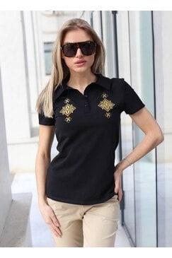 Черна дамкса тениска с къс ръкав VIOLA BLACK