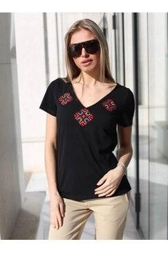 Черна дамска тениска с къс ръкав BOJURA