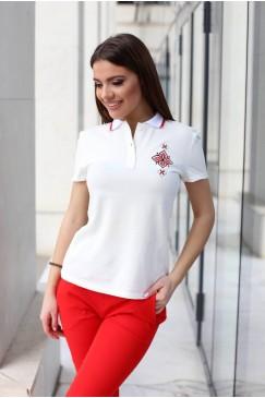 Бяла памучна тениска с яка MOON