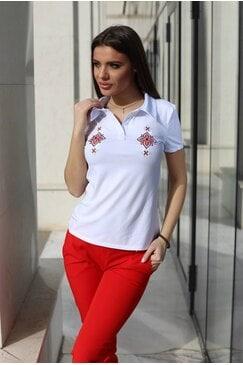Дамска тениска с къс ръкав и бродерия BORIANA