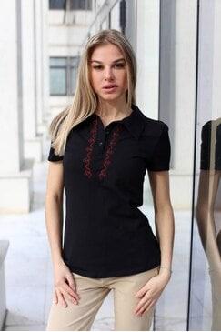 Черна дамска тениска с шевица GERGANA