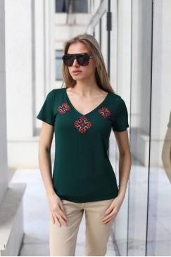 Дамска зелена памучна тениска DANAYA