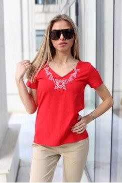 Червена памучна тениска STEFI RED