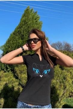 Тениска с бродерия KITTIE BLACK