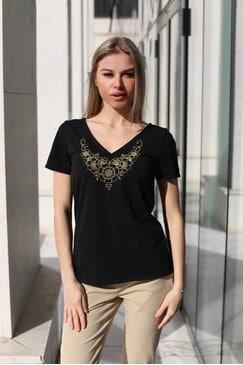 Черна тениска с шевици TEDI
