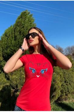 Тениска с бродерия KITTIE RED