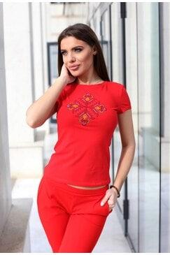 Памучна тениска с бродерия ZOYA