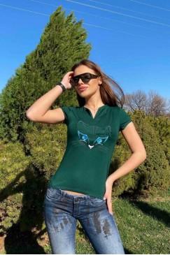 Тениска с бродерия KITTIE GREEN