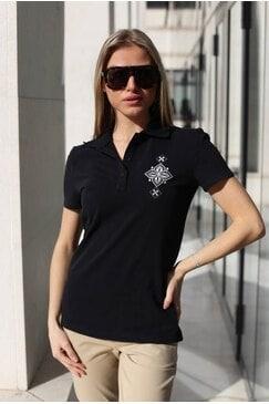 Черна памучна тениска с бродерия EMANUELA