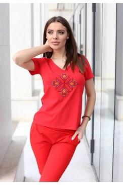 Червена тениска с шевица MAGDA