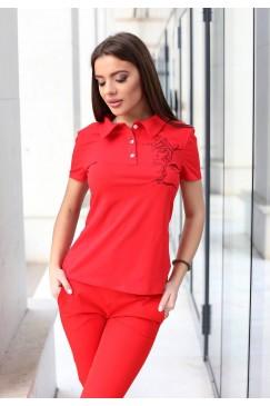 Дамска червена памучна тениска с бродерия BORISLAVA