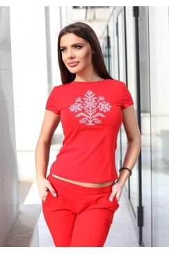 Дамска червена тениска с шевица SILYANA