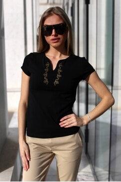 Дамска черна тениска с къс ръкав ILINA