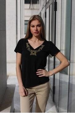 Черна тениска с шевица LORA