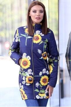Зимно дамско яке с дизайнерски принт BLUE MAGIK