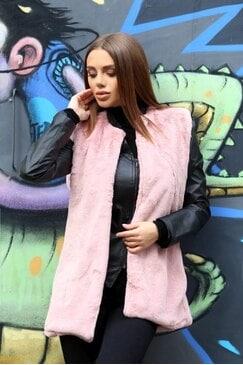 Стилен розов елек от изкуствен косъм DOLY