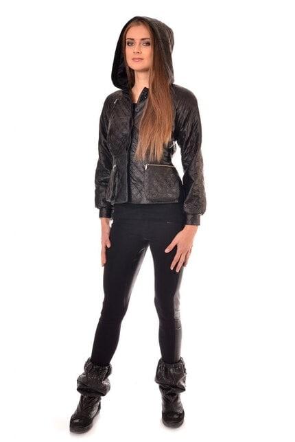 Спортно черно яке от капитонирана кожа