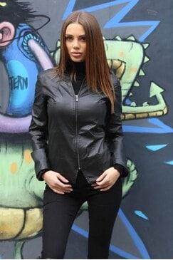 Стилно черно яке от изкуствена кожа MILANO LUX