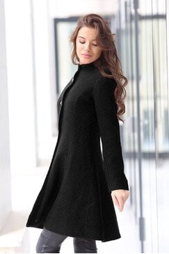 Стилно черно палто RADA BLACK