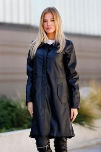 Черно дамско кожено палто REVERT