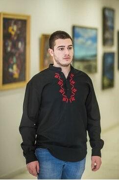 Елегантна черна риза с шевица ALEX BLACK
