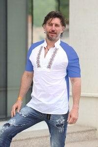 Мъжка риза с бродерия SLAVI NAVY