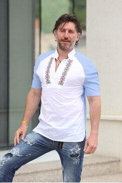 Мъжка риза с бродерия SLAVI BLUE