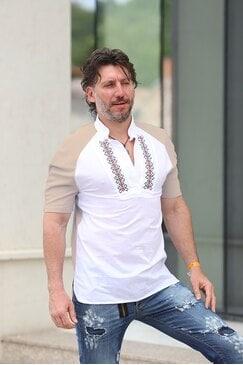 Мъжка риза с бродерия SLAVI BEIGE